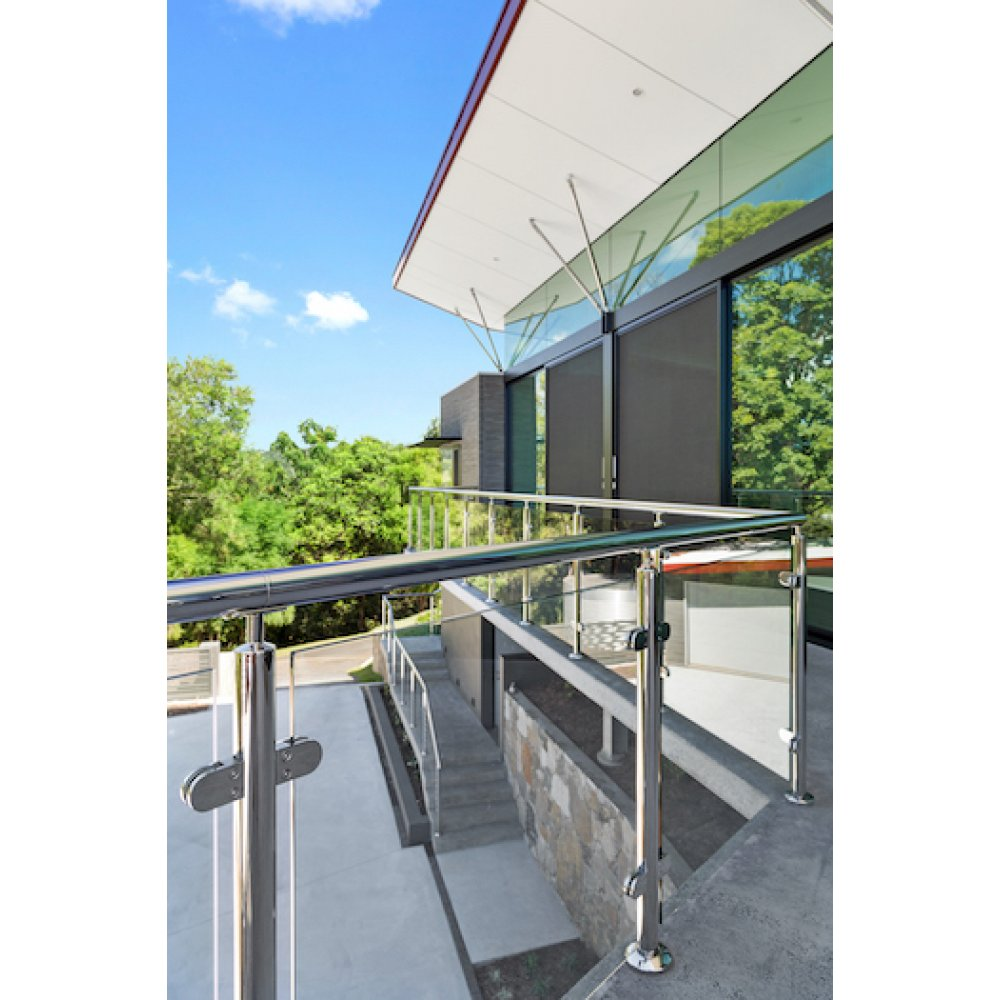 Glass Balustrade Intermediate Post Kit - Round post, glass clamps, base plate, fittings - suits round handrail - Mirror Polish