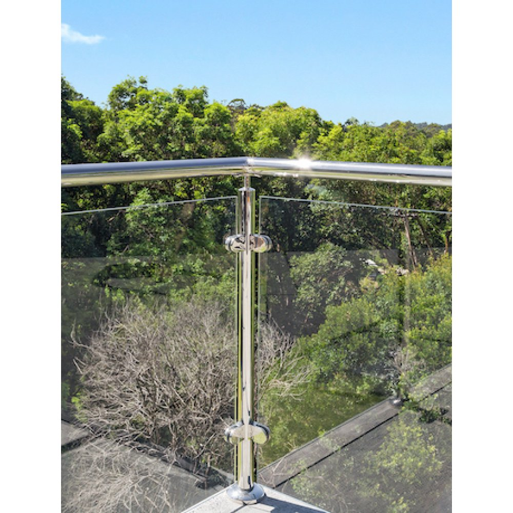 Glass Balustrade Corner Post Kit - Round post, glass clamps, base plate, fittings - suits round handrail - Mirror Polish