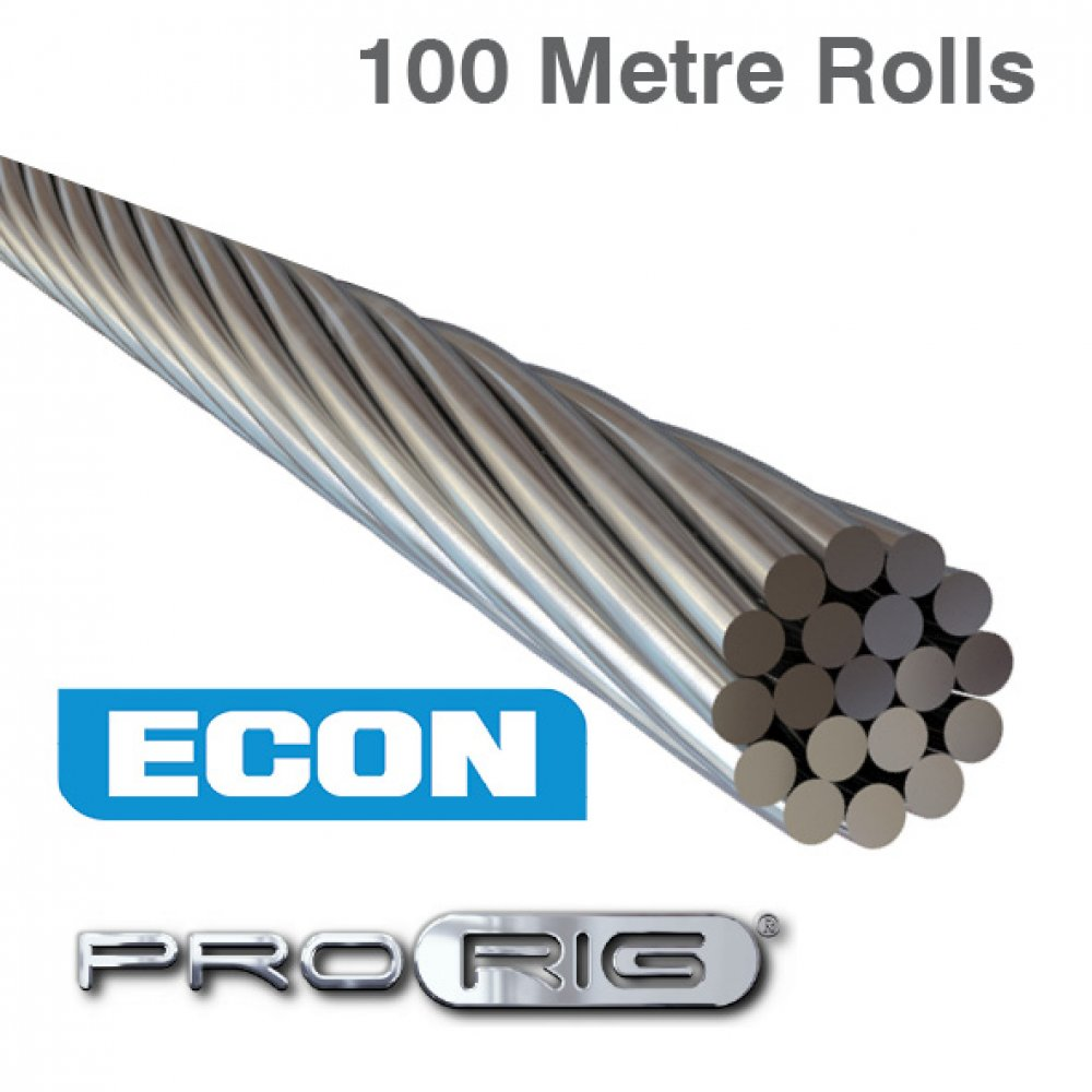 1x19 Wire Rope - 316 Grade Stainless Steel (100 Metre Rolls)