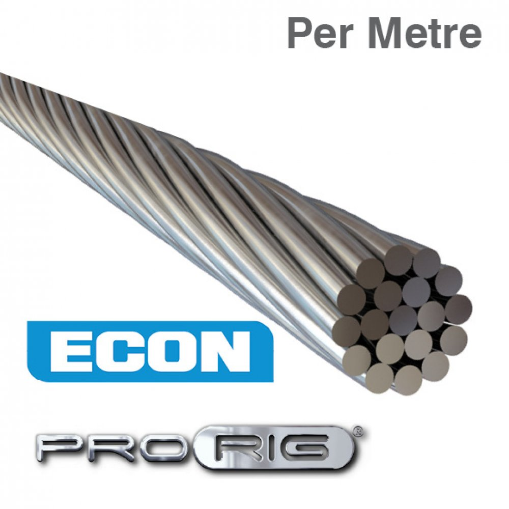 1x19 Wire Rope 316 Grade Stainless Steel (Per Metre)