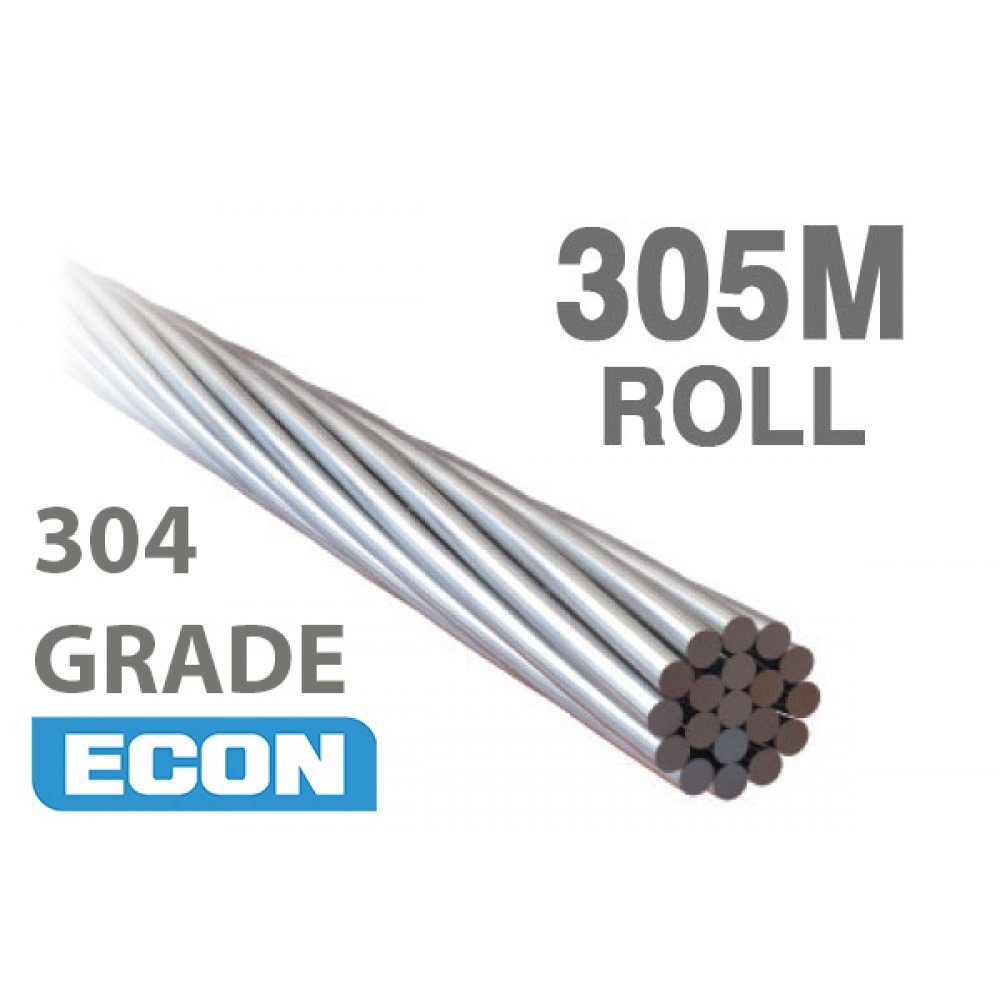 1x19 Wire Rope - 304 Grade Stainless Steel (305 Metre Rolls)
