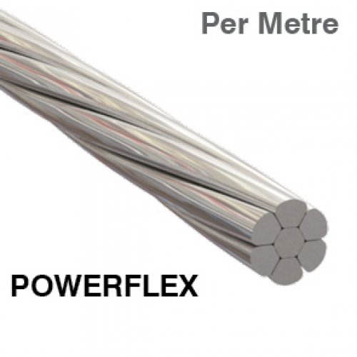 1 x 7 Powerflex Wire Rope 316 Grade Stainless Steel (Per Metre)