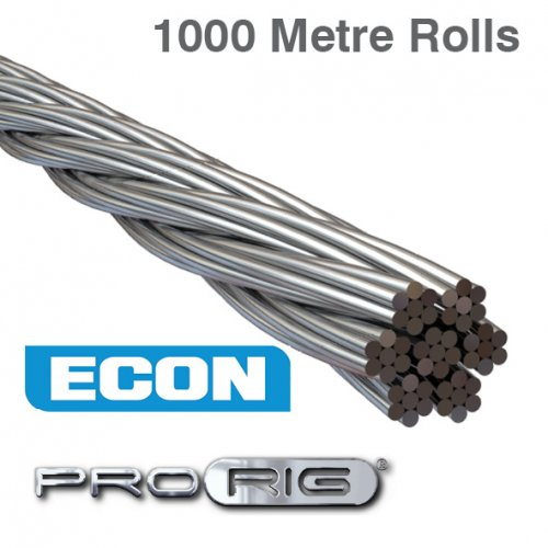 7x7 Wire Rope 316 Grade Stainless Steel (1000 Metre Rolls)