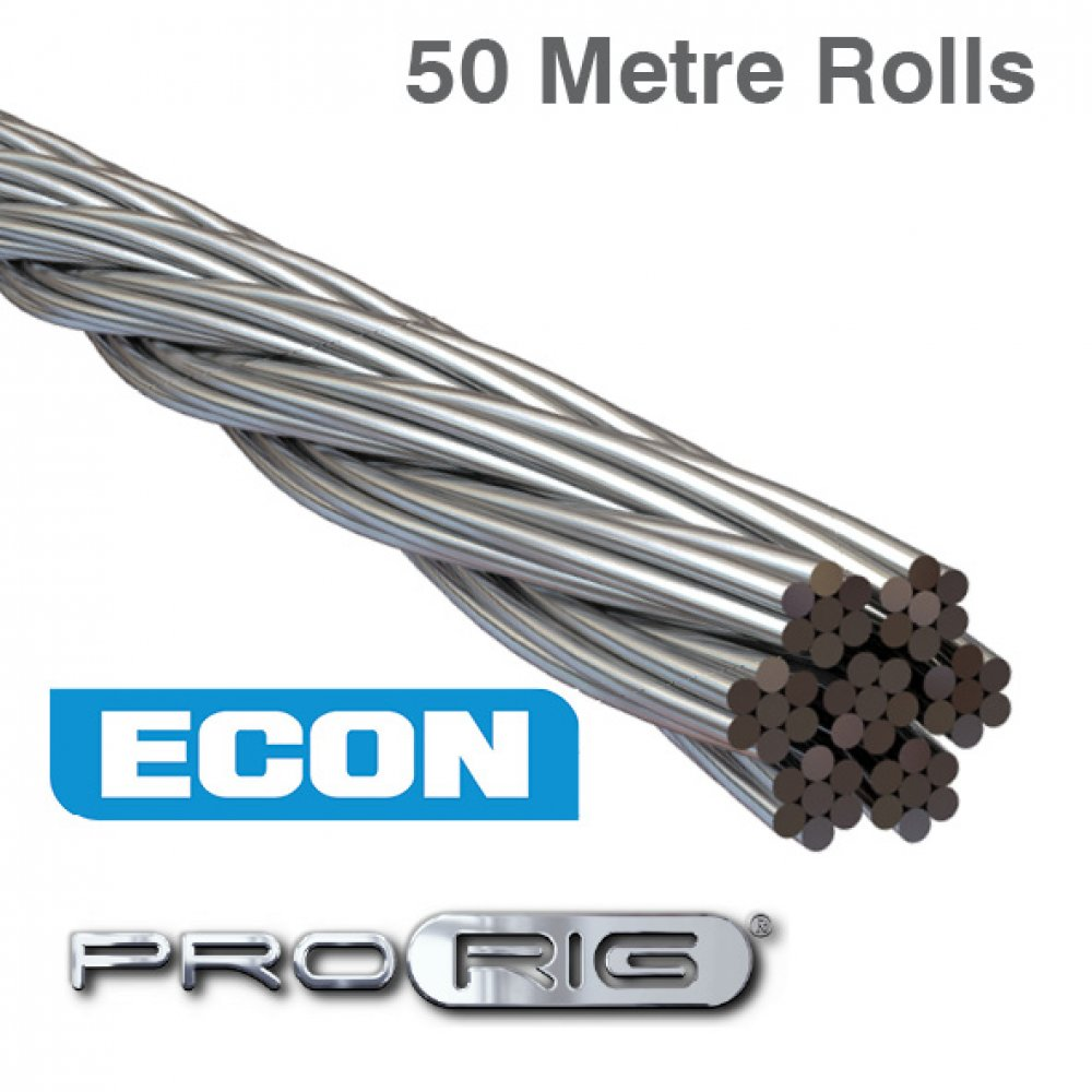 7x7 Wire Rope 316 Grade Stainless Steel (50 Metre Rolls)