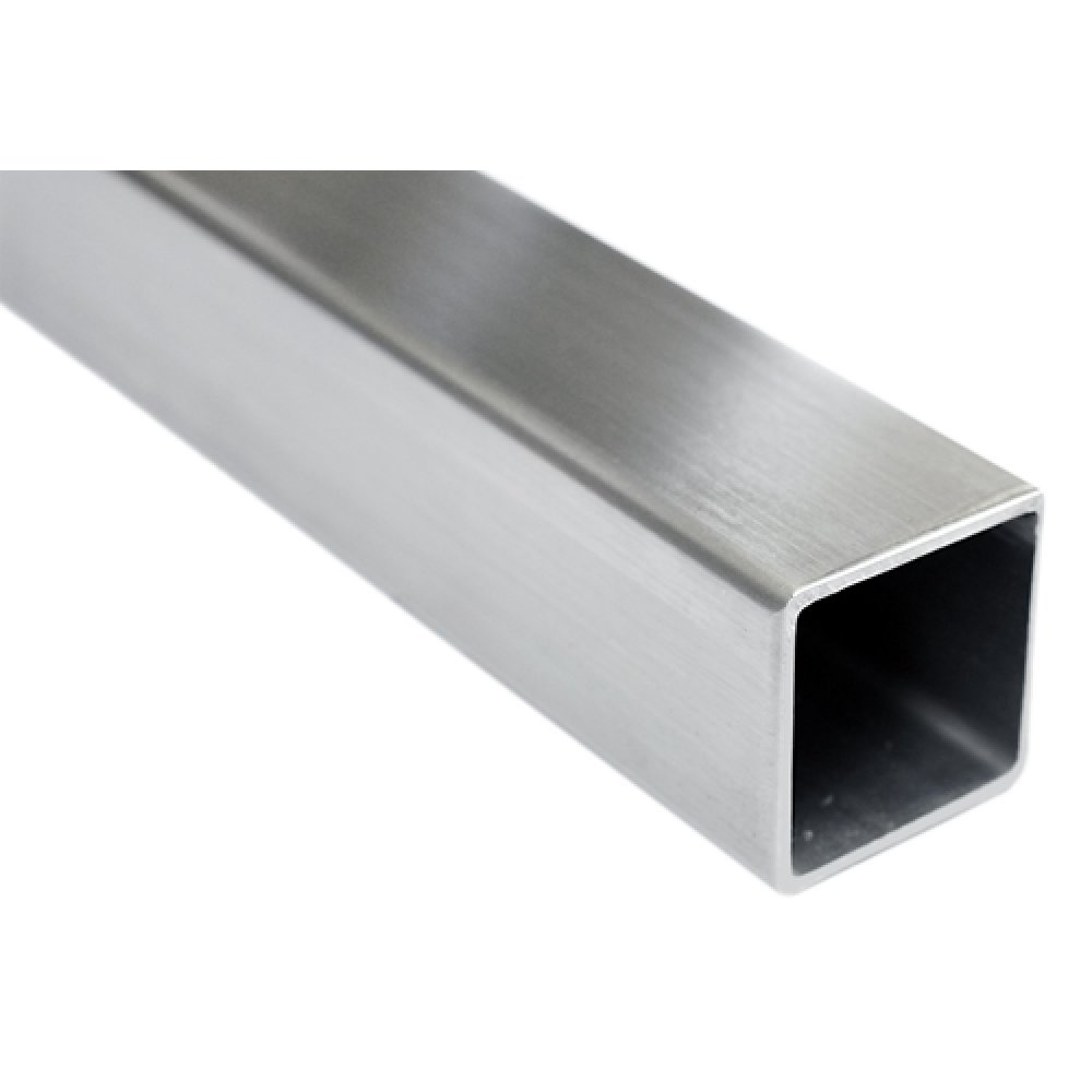 "Tube Square 50.8mm (2""), 3mm Wall, 316 Grade, Satin Finish 320 grit, per Metre."