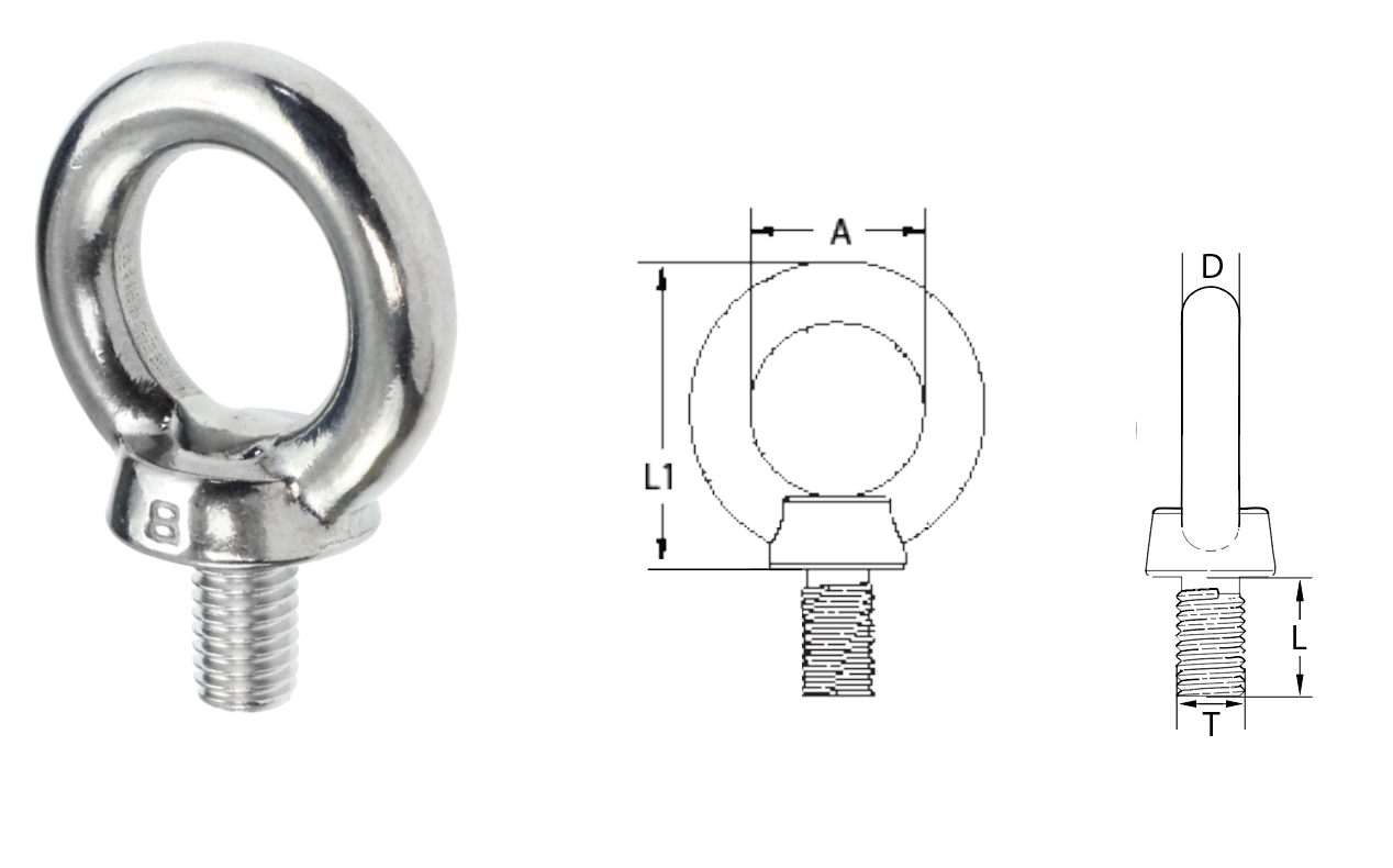 Eye Bolt With Collar 12mm Prorig Aisi 316